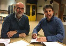 Bron foto: Vliegdorp.nl. Voormalig voorzitter Ton Hendrickx met Raymond Lantinga (rechts)