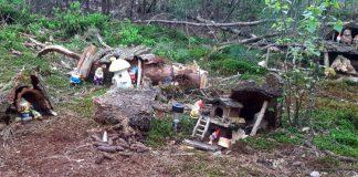 Kabouterdorp in het bos